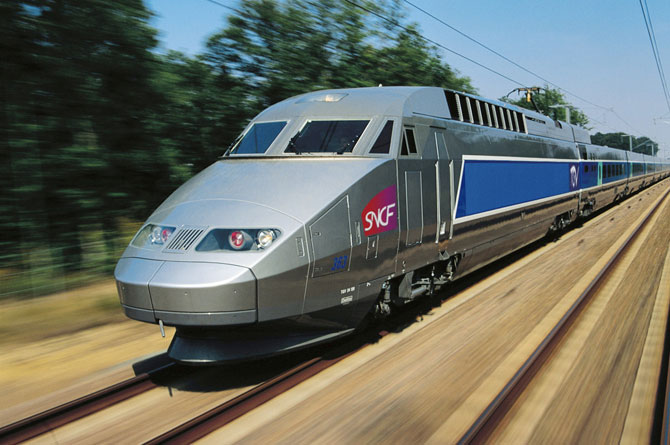 TGV train at speed