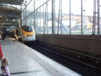 A Eurostar train arrives at the station
