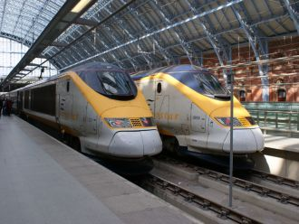 Eurostar trains at London St. Pancras station