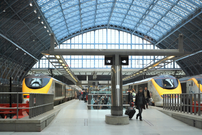 Eurostar trains at London St. Pancras station