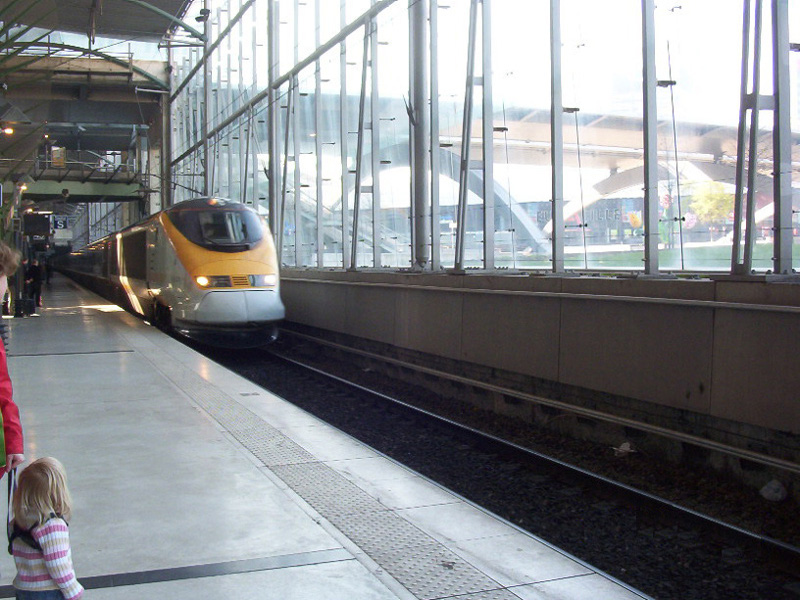 A Eurostar train arrives at the station
